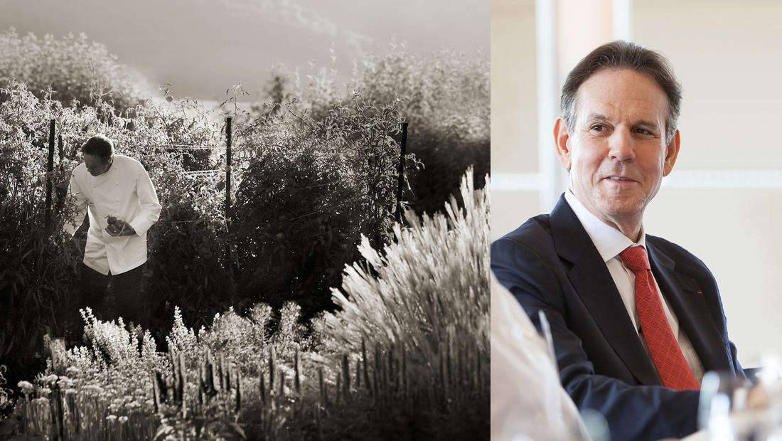 Thomas Keller in garden; Thomas Keller in conversation