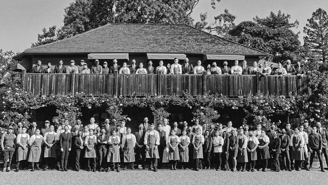 Group portrait of The French Laundry dining room and kitchen team.